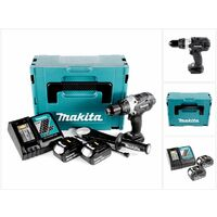 Makita DHP 458 B RFJ 18V Li-ion Perceuse visseuse à percussion sans fil nouveau model 18 V noir Brushless en Coffret MAKPAC + 2x Batteries BL 1830 3 Ah + Chargeur DC 18 RC