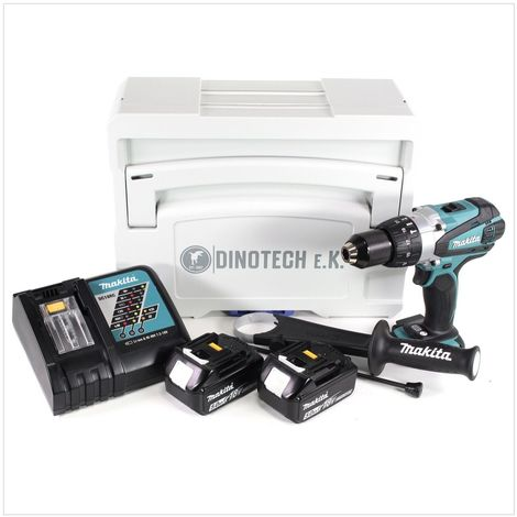 Makita DHP 458 RTJ 18V Li-ion Perceuse visseuse à percussion sans fil + Coffret Tanos Systainer® + 2x Batteries BL 1850 5 Ah + Chargeur DC 18 RC