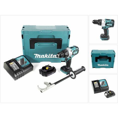 Makita DHP 481 Kit Y1J-D Perceuse-visseuse à percussion sans fil avec boîtier MAKPAC inclus 1 x 1,5 Ah batterie + chargeur