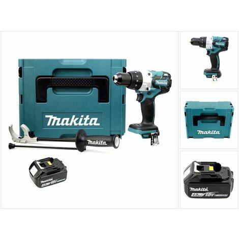 Makita DHP 481 M1J 18V Perceuse-visseuse à percussion sans fil Brushless 115 Nm + Coffret de transport Makpac + 1 x Batterie BL 1840 4,0 Ah - sans Chargeur