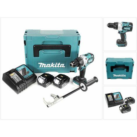 Makita DHP 481 RMJ Taladro combinado inalámbrico 18V en Makpac 2 + 2x Baterías BL 1840 + Cargador DC 18 RC