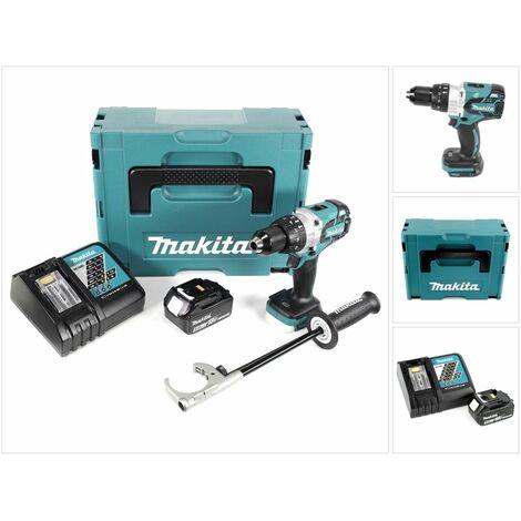 Makita DHP 481 RT1J Taladro combinado a batería 18V en Makpac 2 + 1x Baterías BL 1850 5,0 Ah + Cargador DC 18 RC