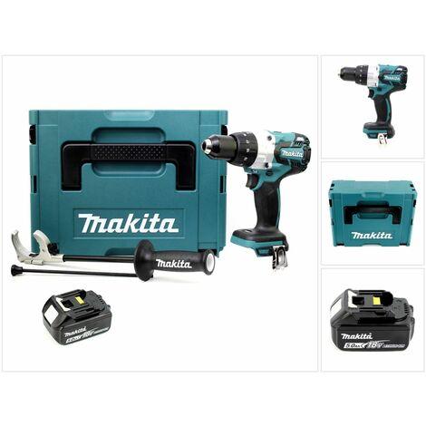 Makita DHP 481 T1J 18V Perceuse-visseuse à percussion sans fil Brushless 115 Nm + Coffret de transport Makpac + 1 x Batterie BL1850 5,0 Ah - sans Chargeur
