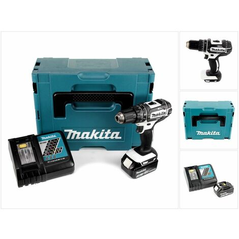 Makita DHP 482 RF1JW Taladro combinado de impacto inalámbrico 18 V Color blanco en maletín Makpac 2 + 1x Batería BL 1830 + Cargador DC 18 RC