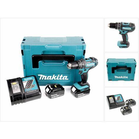 Makita DHP 482 RMJ - 18 V Li-Ion Perceuse visseuse à percussion sans fil avec coffret Makpac + 2x Batteries BL 1840 4,0 Ah + Chargeur DC 18 RC