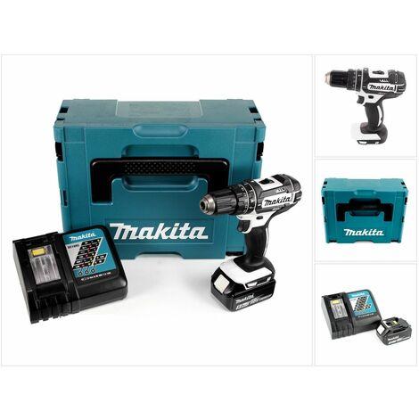 Makita DHP 482 RT1JW Taladro combinado de impacto inalámbrico 18 V Color blanco en maletín Makpac 2 + 1x Batería BL 1850 + Cargador DC 18 RC