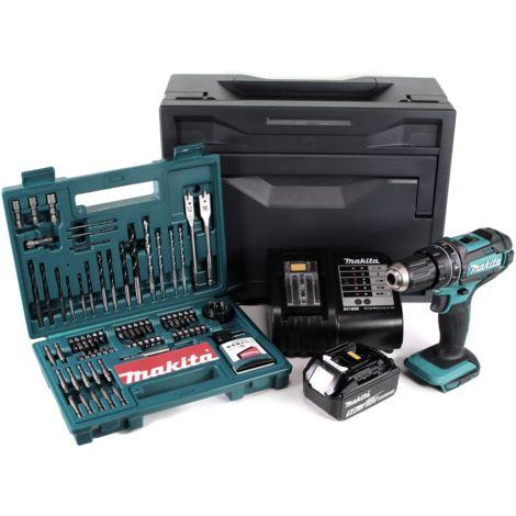 Makita DHP 482 STX Taladro combinado de impacto a batería 18V + Makbox + 1x Batería 5,0 Ah + Cargador DC18SD + Set de brocas y puntas de 100 piezas