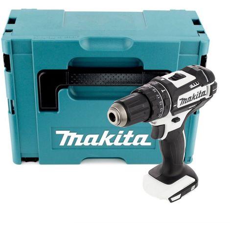 Makita DHP 482 W ZJ 18 V Perceuse visseuse à percussion sans fil blanc + Boîtier de transport sans Batterie ni Chargeur