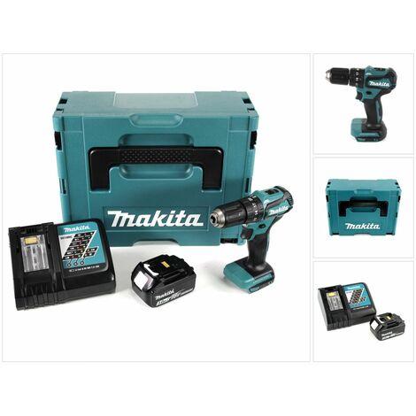 Makita DHP 483 RF1J Taladro percutor a batería 18 V en maletín Makpac 2 + 1x Batería BL 1830 + Cargador DC 18 RC