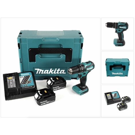 Makita DHP 483 RTJ 18 V Li-Ion Brushless Perceuse visseuse à percussion sans fil avec boîtier Makpac + 2x Batteries BL 1850 5,0 Ah + Chargeur DC18RC