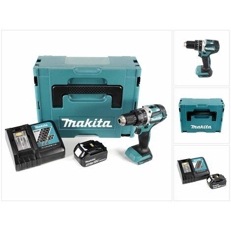 Makita DHP 484 RM1J 18V Brushless Li-Ion Perceuse visseuse à percussion sans fil avec boîtier Makpac + 1x Batterie BL 1840 4,0 Ah + Chargeur DC18RC