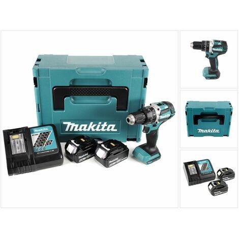 Makita DHP 484 RMJ 18V Brushless Li-Ion Perceuse visseuse à percussion sans fil avec boîtier Makpac + 2x Batteries BL 1840 4,0 Ah + Chargeur DC18RC