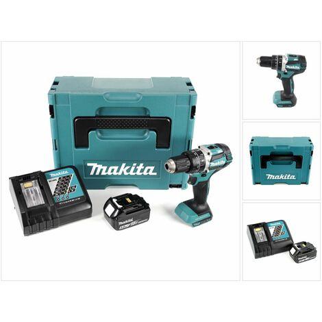 Makita DHP 484 RT1J 18V Brushless Li-Ion Perceuse visseuse à percussion sans fil avec boîtier Makpac + 1x Batterie BL 1850 5,0 Ah Chargeur DC18RC