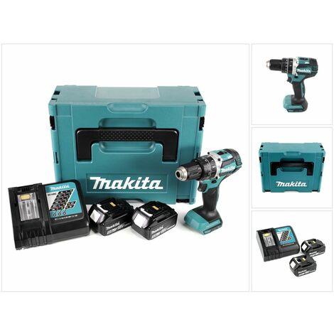 Makita DHP 484 RTJ Taladro combinado a batería 18V en Makpac 2 + 2x Batería BL1850 5,0 Ah + Cargador DC 18 RC