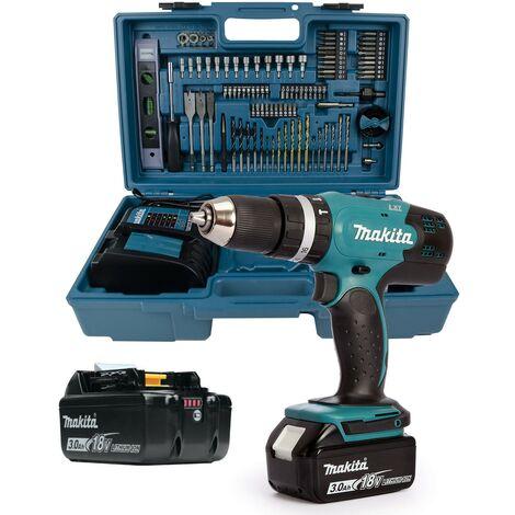 Makita DHP453RFE 18v Lithium Combi Hammer Drill 2 Batteries + 101 Piece Bit Set