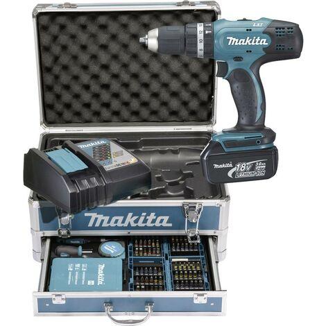 Makita DHP453RFX2 Perceuse-visseuse à percussion sans fil 18 V 3.0 Ah Li-Ion + 2 batteries, + mallette, + accessoires