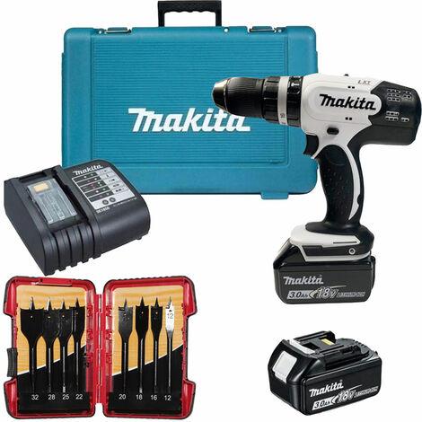 Makita DHP453SFEW 18V Combi Drill 2 x 3.0Ah Batteries & 8 Piece Flat Drill Bit Set:18V