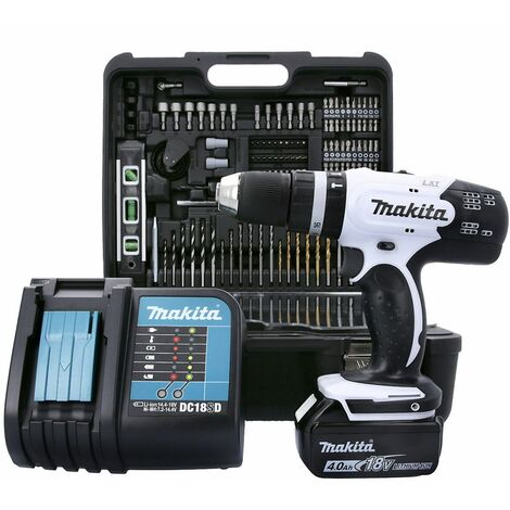 Makita DHP453SMWX 18V LXT White Combi Drill With Accessories, 1 x 4.0Ah Battery, Charger & Case