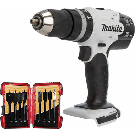 Makita DHP453ZW 18V LXT White Combi Drill Driver with 8 Piece Flat Drill Bit Set:18V