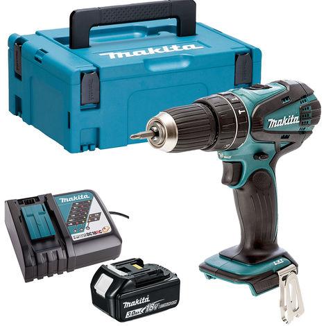 Makita DHP456Z 18V Li-ion Combi Hammer Drill 1 x 3.0Ah Battery Charger & Case:18V