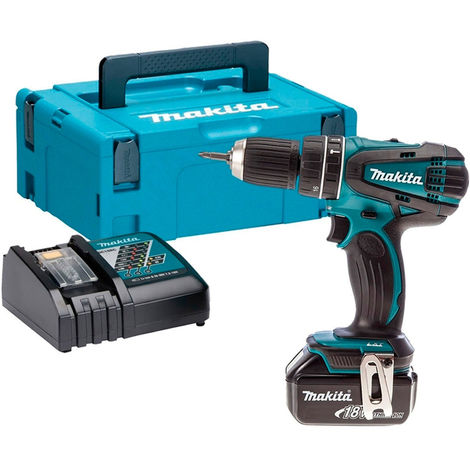 Makita DHP456Z 18V Li-ion Combi Hammer Drill 1 x 5.0Ah Battery Charger & Case:18V