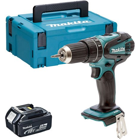 Makita DHP456Z 18V Li-ion Combi Hammer Drill with 1 x 5.0Ah Battery in Case:18V