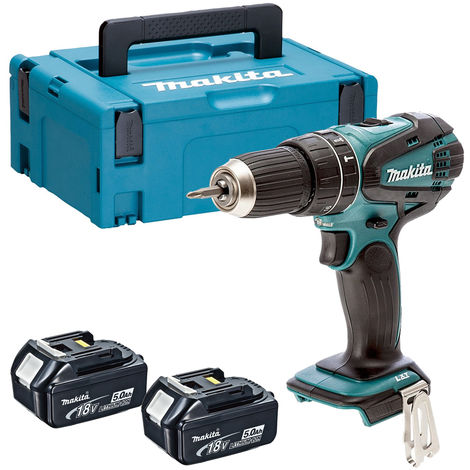 Makita DHP456Z 18V Li-ion Combi Hammer Drill with 2 x 5.0Ah Batteries in Case:18V