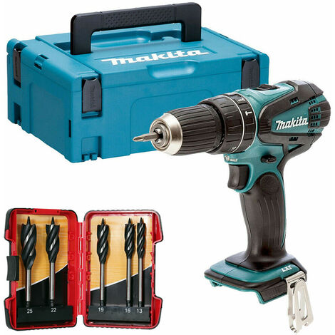 Makita DHP456ZJ 18V Combi Hammer Drill in Case with 5 Piece Auger Drill Bit Set:18V