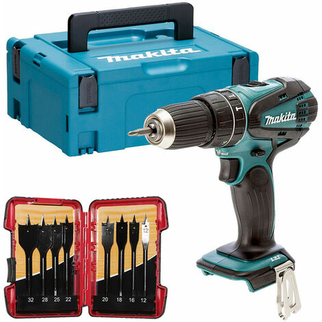 Makita DHP456ZJ 18V Combi Hammer Drill in Case with 8 Piece Flat Drill Bit Set:18V