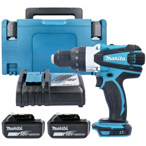 Makita DHP458 18V Compact Combi Drill With 2 x 5.0Ah Batteries, Charger, Case & Inlay