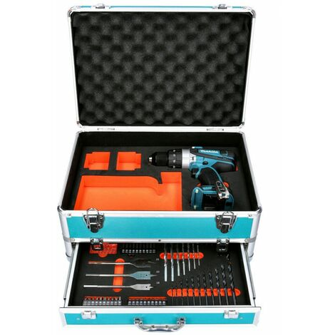 Makita DHP458 18V Compact Combi Drill With 70pc Accessory Set in Aluminum Case