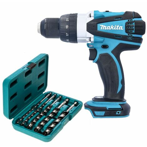 Makita DHP458 18V Compact Combi Drill With P-46464 5 Piece Hexagon Auger Bit Set