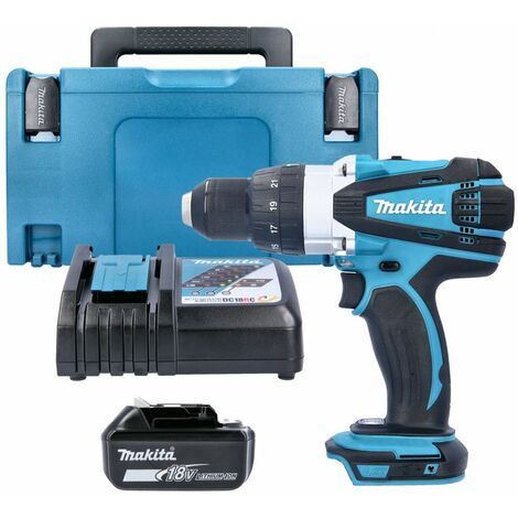 Makita DHP458 18V Cordless Compact Combi Drill With 1 x 3.0Ah Battery, Charger, Case & Inlay