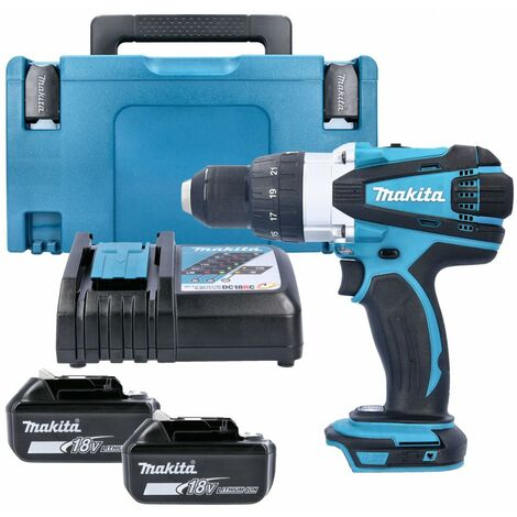 Makita DHP458 18V Cordless Compact Combi Drill With 2 x 4.0Ah Batteries, Charger, Case & Inlay