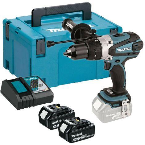 Makita DHP458RTJ LXT 18v Combi Hammer Drill + 2 x 5.0ah Batts + Makpac