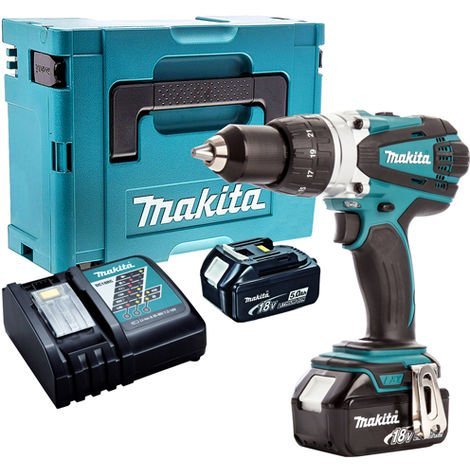 Makita DHP458Z 18V Combi Drill with 2 x 5.0Ah Batteries & Charger in Case:18V