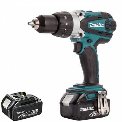 Makita DHP458Z 18V LXT Cordless Combi Drill with 2 x 5.0Ah Batteries:18V