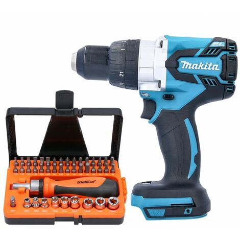 Makita DHP481 18V Brushless Combi Drill With 44 pcs Multipurpose Accessories Set