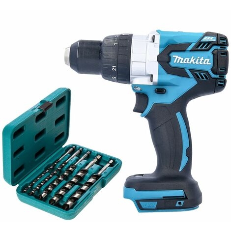 Makita DHP481 18V Brushless Combi Drill With P-46464 5 Piece Hexagon Auger Bit Set