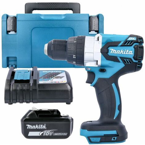 Makita DHP481Z 18v Brushless Combi Drill Body With 1 x 5.0Ah Battery, Charger, Case & Inlay