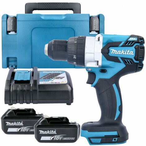 Makita DHP481Z 18v Brushless Combi Drill Body With 2 x 5.0Ah Batteries, Charger, Case & Inlay
