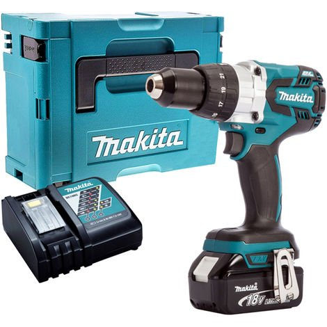 Makita DHP481Z 18V Brushless Combi Hammer Drill Driver with 1 x 5.0Ah Battery & Charger in Case:18V