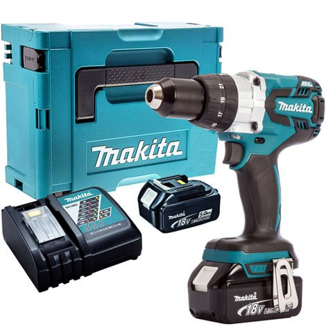 Makita DHP481Z 18V Brushless Combi Hammer Drill Driver with 2 x 5.0Ah Batteries & Charger in Case:18V