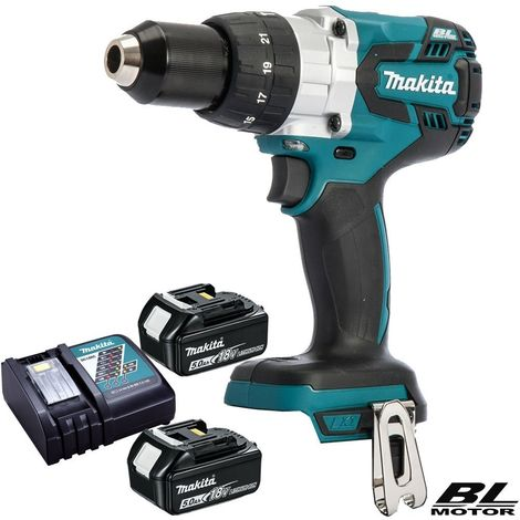 Makita DHP481Z 18V Brushless Combi Hammer Drill With 2 x 5Ah Batteries & Charger:18V