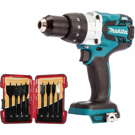 Makita DHP481Z 18V Brushless Combi Hammer Drill with 8 Piece Flat Drill Bit Set