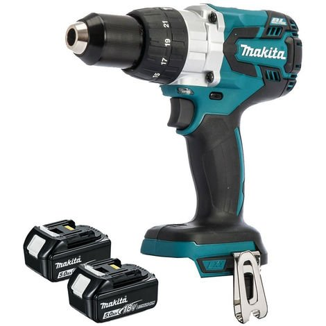 Makita DHP481Z 18v LXT Lithium-Ion Combi Hammer Drill Body With 2 x 5.0Ah Batteries:18V