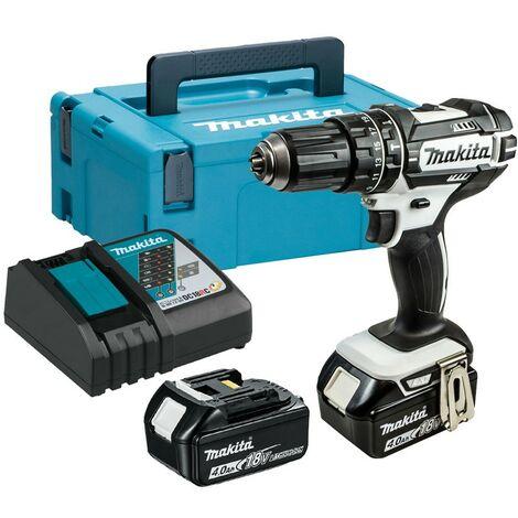 Makita DHP482RMWJ 18v LXT Combi Hammer Drill White 2 x 4.0ah Battery + Charger