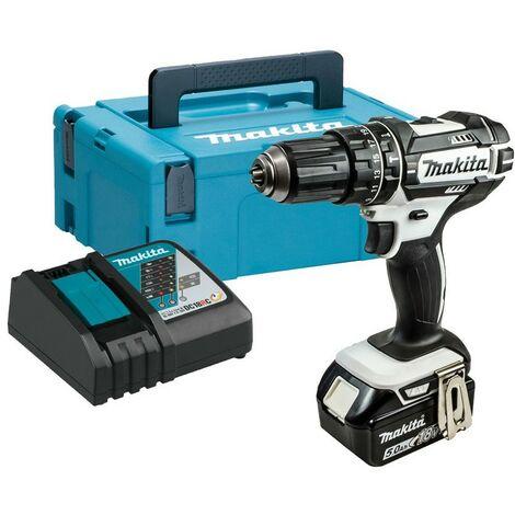 Makita DHP482RTW1J 18v LXT Combi Hammer Drill White 1 x 5.0ah Battery + Charger