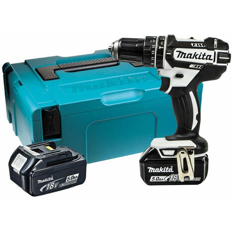 MAKITA DHP482RTWJ 18V Combi Drill with 2 x 5.0Ah Batteries & Charger in Case:18V