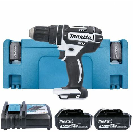 Makita DHP482RTWJ 18V LXT White Combi Drill With 2 x 5.0Ah Batteries, Charger & Case